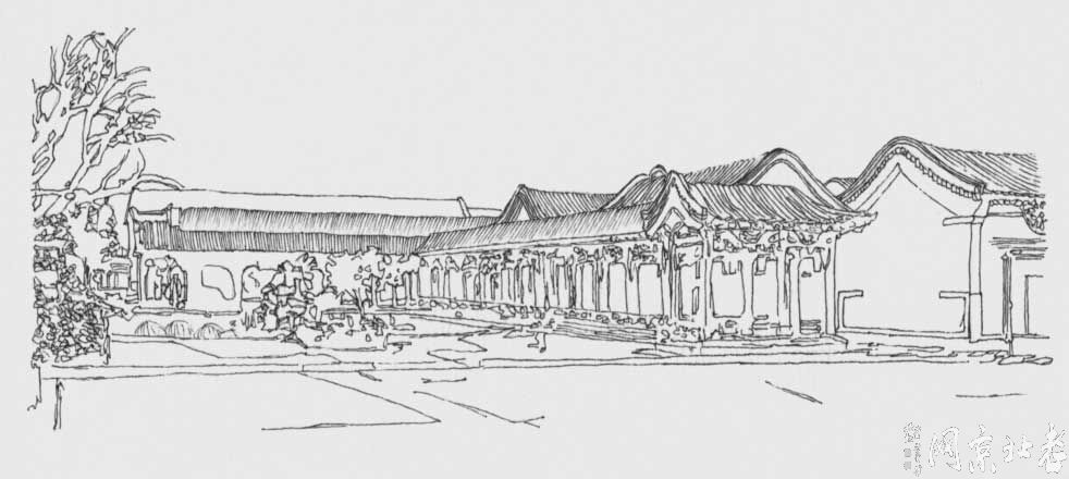 用手画出来的四合院--素描